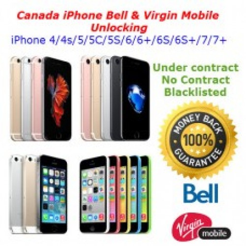 Apple iPhone Unlocking Service Bell , Virgin Mobile