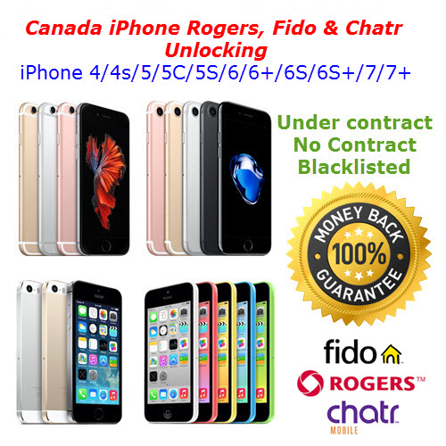 Apple iPhone Unlocking Service Rogers, Fido, Chatr